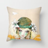 war Throw Pillows featuring War girl by Ariana Perez