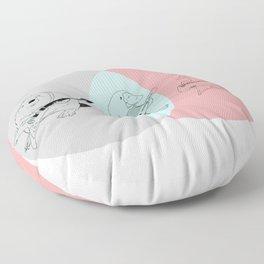 Keytar Platypus Venn Diagram Gray Blue Pink Floor Pillow