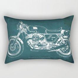 2010 Moto Guzzi V7 Clubman Racer green blueprint Rectangular Pillow