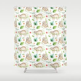 Modern hand painted green brown watercolor tropical floral sloth Shower Curtain