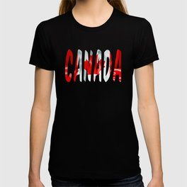 Canada Word With Flag Texture T-shirt
