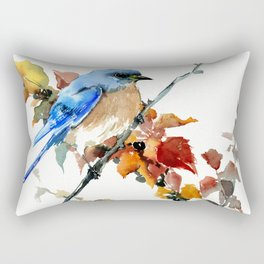 Bluebird on Fall Tree Rectangular Pillow