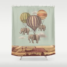 Flight of the Elephants - mint option Shower Curtain