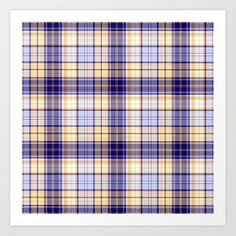 in yellow and blue plaid Art Print