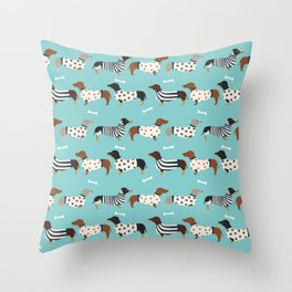 Dachshund sweaters cute gifts for dog lover pet friendly dog breed dachsie doxie dogs Throw Pillow