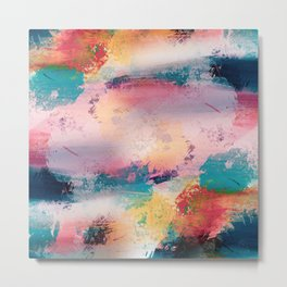 Modern Colorful Brush Strokes Paint Abstract Art Metal Print