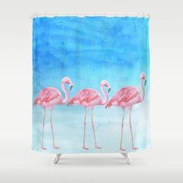 Flamingo Bird Summer Lagune - Watercolor Illustration Shower Curtain