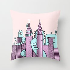 Monster Invasion Colored Throw Pillow