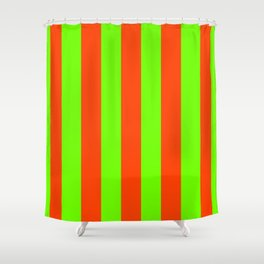 Bright Neon Green and Orange Vertical Cabana Tent Stripes Shower Curtain