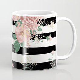 VINTAGE FLORAL ROSES BLACK AND WHITE STRIPES Coffee Mug
