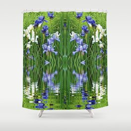 PURPLE IRIS WATER GARDEN  REFLECTION Shower Curtain