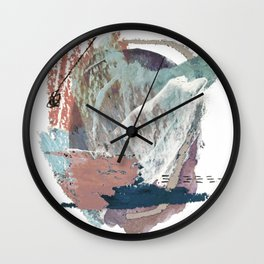 In the Clouds: a minimal mixed media piece in blues, pinks, white, and purple Wall Clock