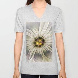 Blossom, Abstract Fantasy Flower Fractal Art Unisex V-Neck