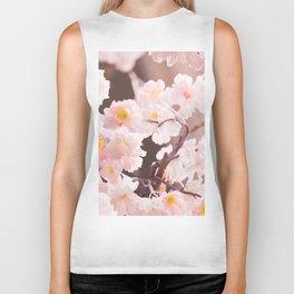Pastel Pink Cherry Blossom Soft Brown Background #decor #society6 #buyart Biker Tank