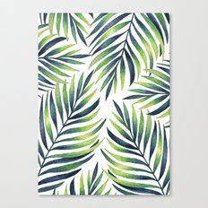 Tropical leaves. White pattern Canvas Print