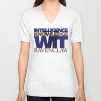 ravenclaw V-neck T-shirts featuring Ravenclaw by Fanboy's Canvas