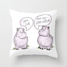 Hippo-critical Throw Pillow