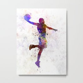 young man basketball player one hand slam dunk Metal Print