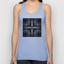 Black and White Multi-lines Unisex Tank Top