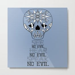 Cute Skull See no Evil Metal Print