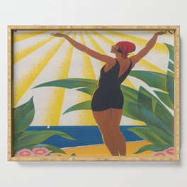 French Riviera Art Deco Vintage Travel Poster Serving Tray
