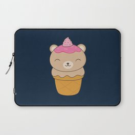 Kawaii Bear Ice Cream Cone Laptop Sleeve