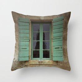 green window shutters Throw Pillow