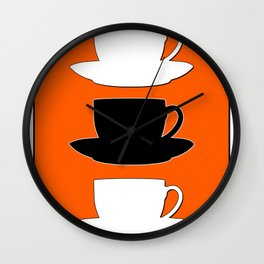Retro Coffee Print - Black & White Cups on Burnished Orange Background Wall Clock