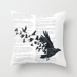 Vintage Style Print with Poem Text Edgar Alan Poe: Edgar Alan Crow Throw Pillow