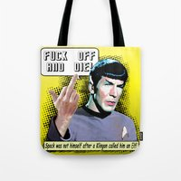 spock Tote Bags featuring Spock.... by PsychoBudgie