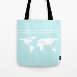 World Map with inspirational Dr. Seuss quote in teal, green, mint Tote Bag