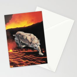 lavacat ~ animal paper collage surreal weird mountain lion volcano funny Stationery Cards
