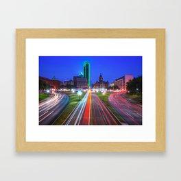 Dealey Plaza at Dawn - Dallas Texas Skyline Framed Art Print