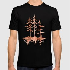 THE THREE SISTERS -  Rose Gold Pink Vintage Forest Adventure Art Mens Fitted Tee X-LARGE Black