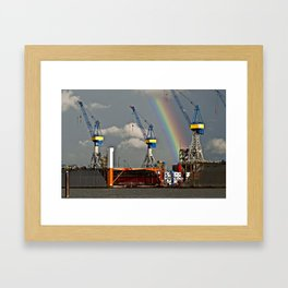 Rainbow over the port of HAMBURG Framed Art Print
