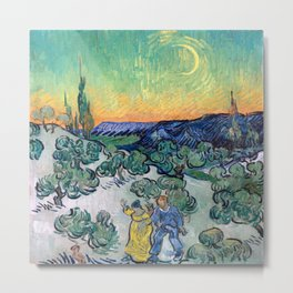 Vincent van Gogh's Landscape with Couple Walking and Crescent Moon Metal Print