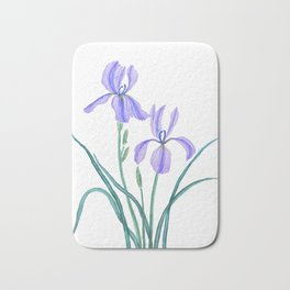vintage purple iris watercolor Bath Mat