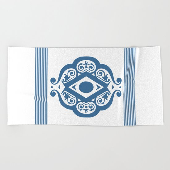 Blue White Ornate Shapes Pattern Beach Towel