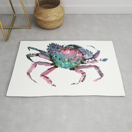 Crab Turquoise Blue Pink Crab Design Rug