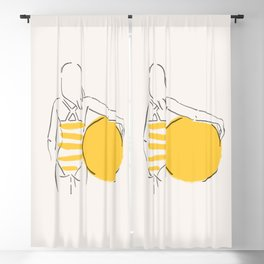 Summer ready - line drawing Blackout Curtain