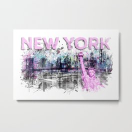 Modern Art NEW YORK CITY Skyline Splashes | pink Metal Print