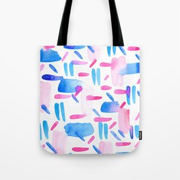 Blue Pink Diagonal Plaid Tote Bag
