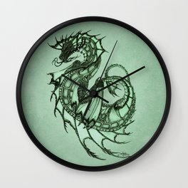 """Tsunami"" by Amber Marine ~ Sea Dragon (Jade Version) ~ Graphite Illustration, (Copyright 2005) Wall Clock"