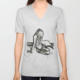 Sitting Female Sketch II Unisex V-Neck