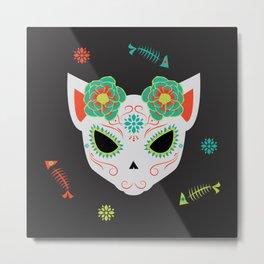 Dia De Los Muertos Cat Metal Print