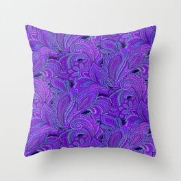 paisley paisley purple Throw Pillow