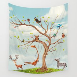 Tree with animals.Bunch of cute little creatures gathered on the branches of tree Wall Tapestry