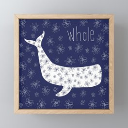 Whale - Blue and White Framed Mini Art Print