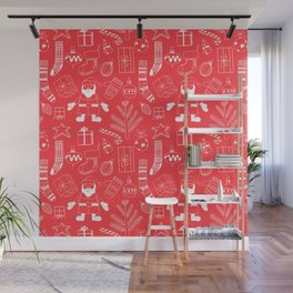 Doodle Christmas pattern red Wall Mural