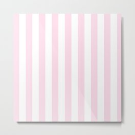 Simple Pink and White stripes, vertical Metal Print